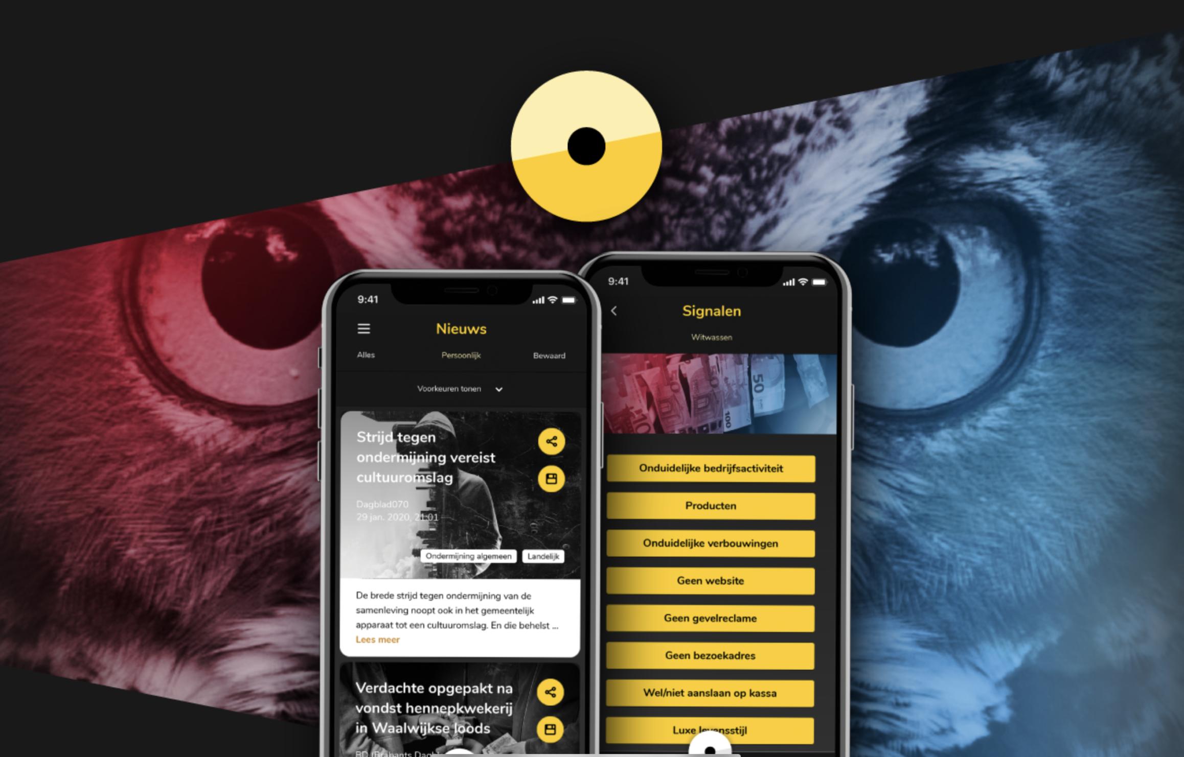 Screenshot van de app ondermijning
