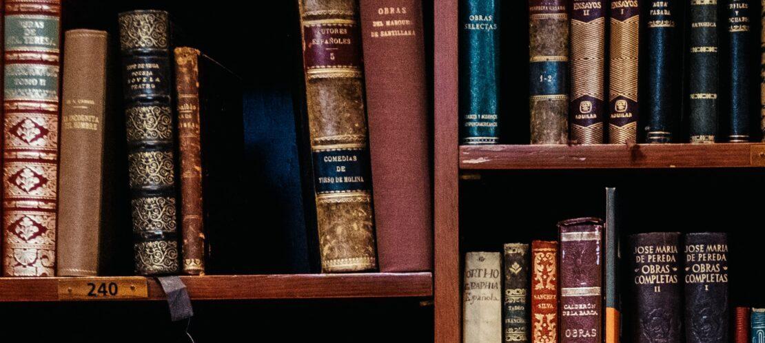 Foto met allemaal boeken met verschillende kleuren en formaten in een boekenkast