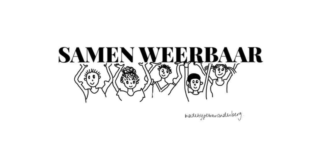 Tekende mensen die boven hun hoofd de woorden SAMEN WEERBAAR dragen. Ze hebben spierballen en zijn samen sterk